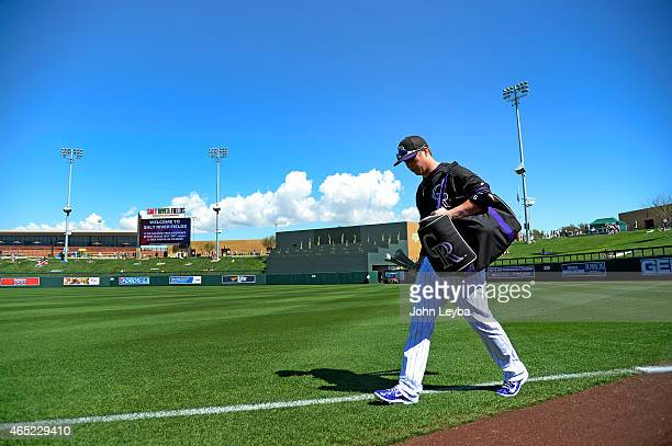 Colorado Rockies left fielder Corey Dickerson heads to the dugout before their game against the Arizona Diamondbacks March 4 2015 at Salt River Fields
