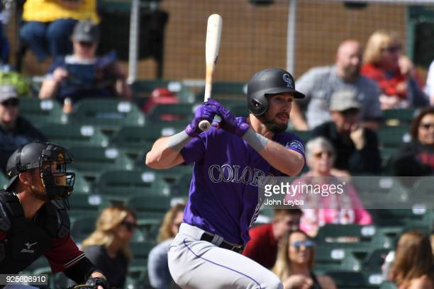 Colorado Rockies left fielder David Dahl grounds out in the fourth inning against the Arizona Diamondbacks on February 28, 2018 at Salt River Fields...