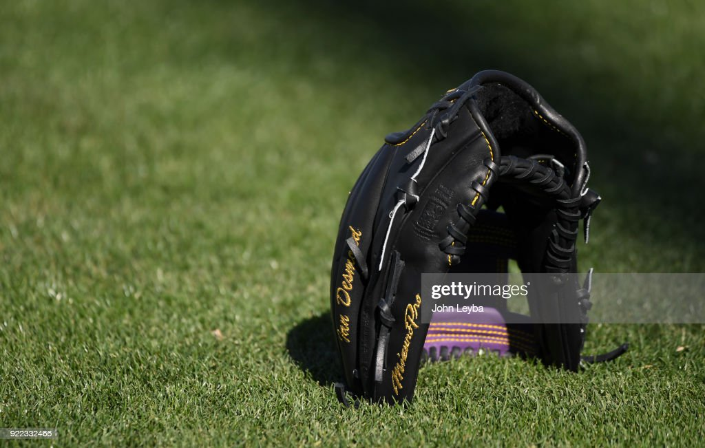 Colorado Rockies left fielder Ian Desmond's glove on February 21, 2018 at Salt River Fields at Talking Stick in Scottsdale, Arizona.