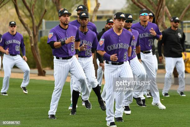 Colorado Rockies Noel Cuevas sidesteps during the teams workout on February 19 2018 at Salt River Fields at Talking Stick in Scottsdale Arizona
