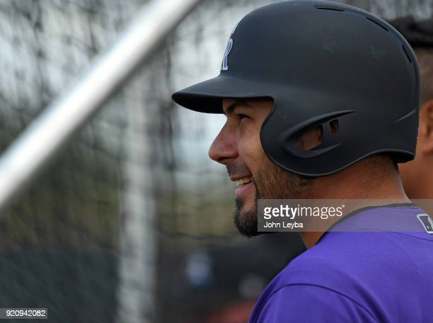 Colorado Rockies Noel Cuevas smiles during the teams workout on February 19 2018 at Salt River Fields at Talking Stick in Scottsdale Arizona