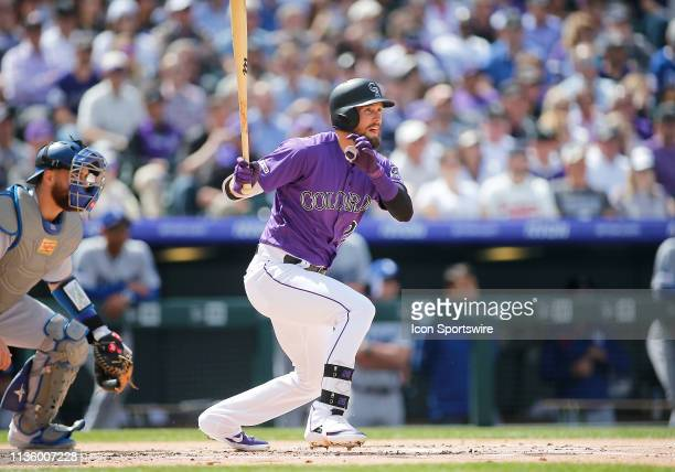 Colorado Rockies outfielder David Dahl bats during a game between Colorado Rockies and the visiting Los Angeles Dodgers on April 5, 2018 at Coors...
