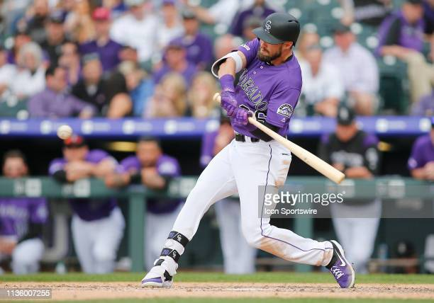 Colorado Rockies outfielder David Dahl connects for a homerun during a game between Colorado Rockies and the visiting Los Angeles Dodgers on April 5,...
