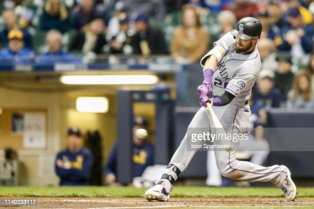 Colorado Rockies outfielder David Dahl hits it foul during the first game of a three game home series between the Milwaukee Brewers and the Colorado...