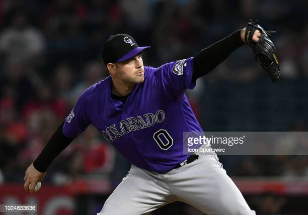 Colorado Rockies pitcher Adam Ottavino in action during the eighth inning of a game against the Los Angeles Angels of Anaheim played on August 27...