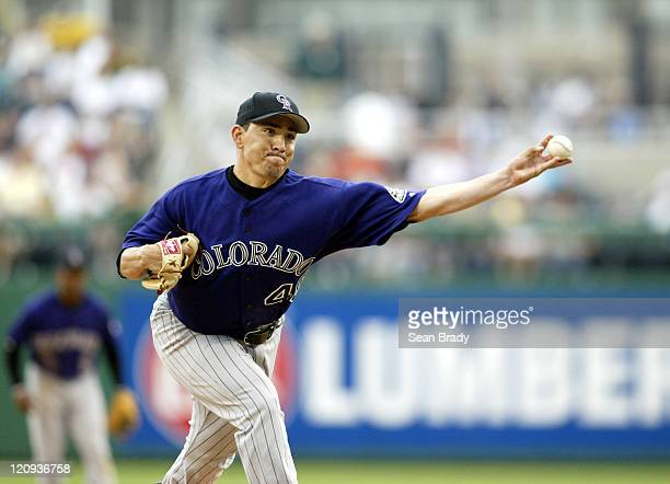 Colorado Rockies pitcher Brian Fuentes in action against the Pittsburgh Pirates at PNC Park in Pittsburgh Pennsylvania on May 22 2005