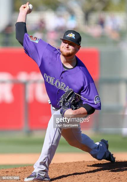 Colorado Rockies pitcher Brooks Pounders during the Major League Baseball Spring Training game between the Colorado Rockies and the Texas Rangers on...