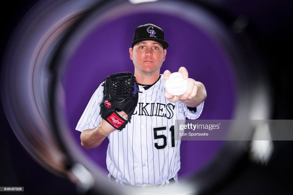 Colorado Rockies pitcher Jake McGee #51 poses for a photo during the Colorado Rockies photo day on Feb. 23, 2017 at Salt River Fields at Talking Stick in Scottsdale, Ariz.
