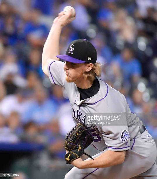 Colorado Rockies pitcher Jon Gray throws in the fourth inning against the Kansas City Royals at Kauffman Stadium in Kansas City Mo on Tuesday Aug 22...