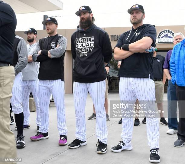 Colorado Rockies players from left to to right, left fielder David Dahl , shortstop Trevor Story , center fielder Charlie Blackmon and infielder Mark...