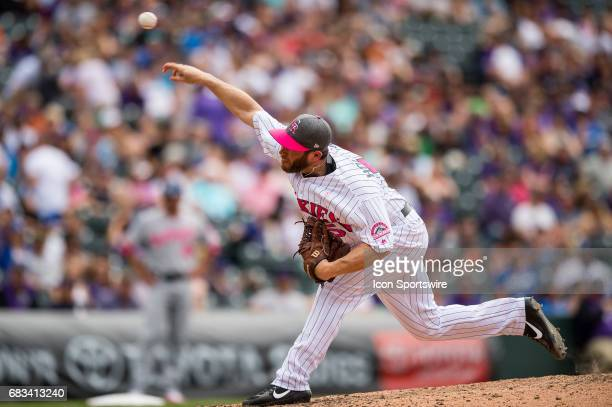 Colorado Rockies relief pitcher Greg Holland pitches in the ninth inning during a regular season Major League Baseball game on May 14 2017 between...