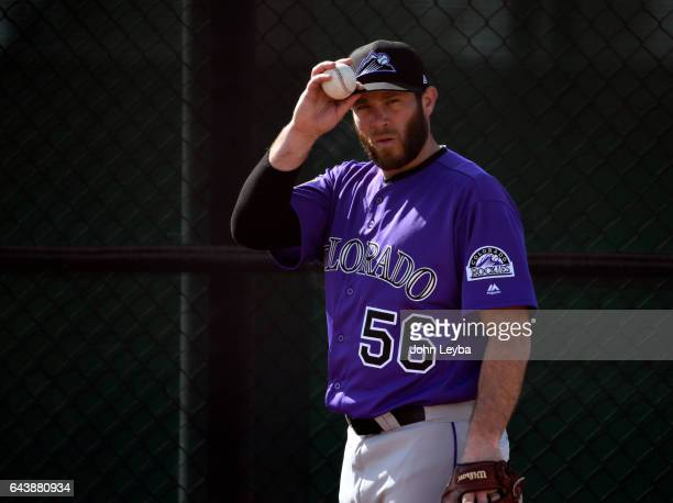 Colorado Rockies relief pitcher Greg Holland warms up in the bullpen during Spring Training at Salt River Fields at Talking Stick on February 22 2017...