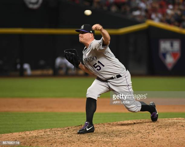 Colorado Rockies relief pitcher Jake McGee delivers a pitch in the eighth inning against the Arizona Diamondbacks during the NL Wild Card Game on...