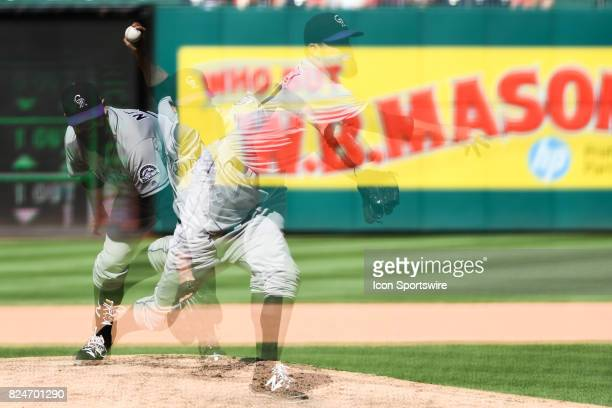 Colorado Rockies relief pitcher Pat Neshek pitches in an in camera multiple exposure during an MLB game between the Colorado Rockies and the...
