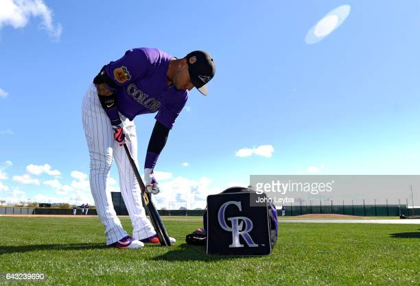 Colorado Rockies right fielder Carlos Gonzalez prepares hit bat for batting practice during Spring Training February 20 2017 at Salt River Fields at...