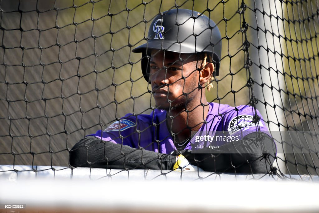 Colorado Rockies right fielder Raimel Tapia (15) looks on during batting practice on February 21, 2018 at Salt River Fields at Talking Stick in Scottsdale, Arizona.