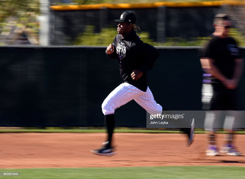 Colorado Rockies right fielder Raimel Tapia (15) runs bases during drills on February 21, 2018 at Salt River Fields at Talking Stick in Scottsdale, Arizona.