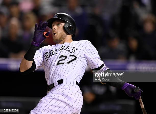 Colorado Rockies shortstop Trevor Story hits a solo home run against the San Francisco Giants in the first inning at Coors Field September 05 2018