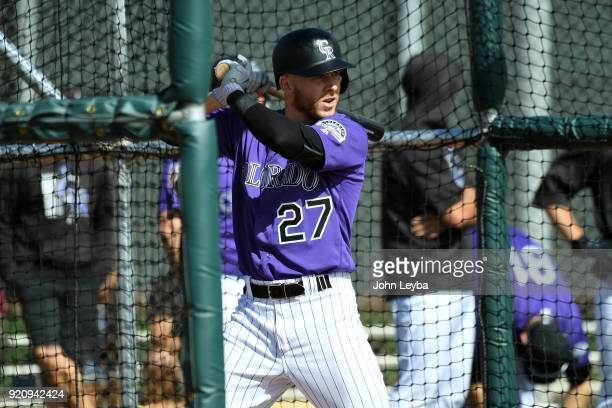 Colorado Rockies shortstop Trevor Story steps in the cage for batting practice during the the teams workout on February 19 2018 at Salt River Fields...