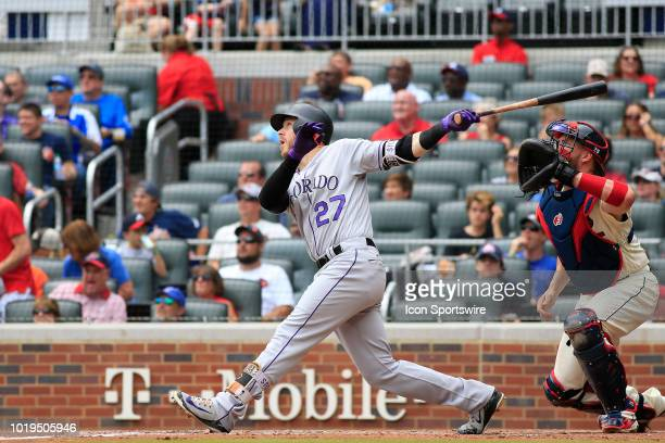 Colorado Rockies Shortstop Trevor Story watches his hit go foul during the MLB game between the Atlanta Braves and the Colorado Rockies on August 19...