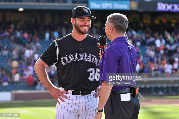 Colorado Rockies Starting pitcher Chad Bettis [8302] gets interviewed after throwing a shutout in the game between the San Francisco Giants and the...