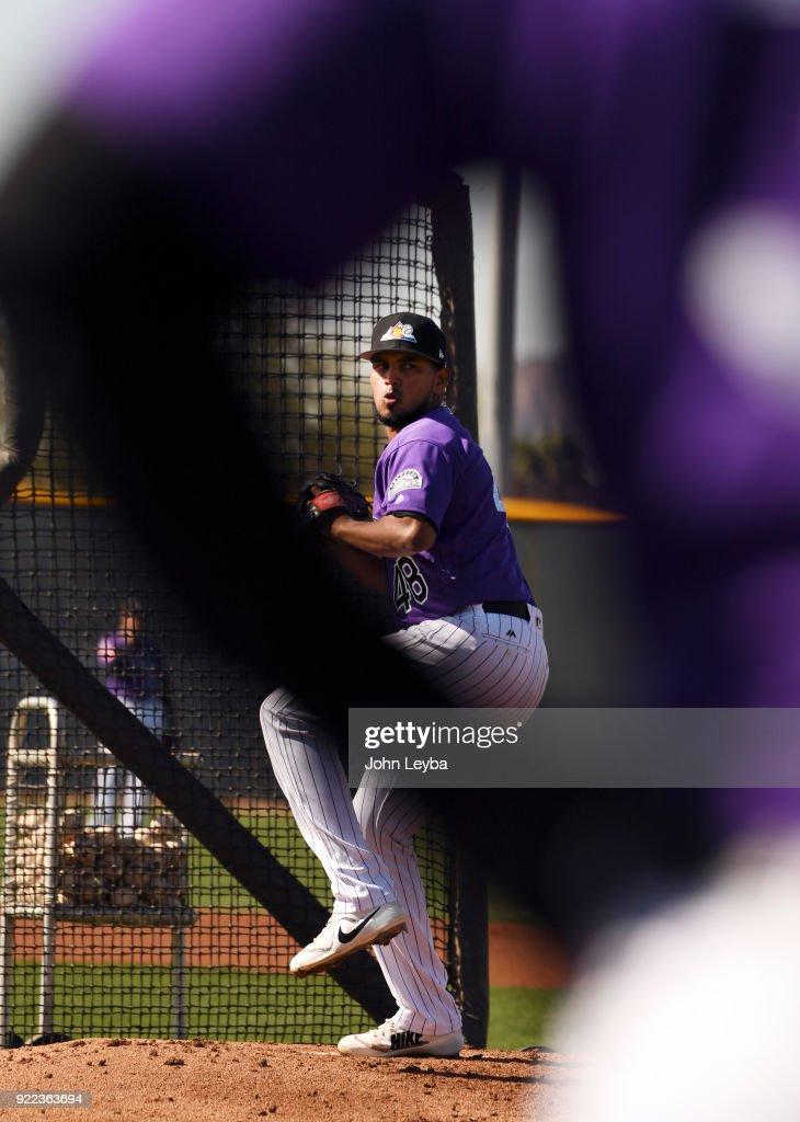 Colorado Rockies starting pitcher German Marquez (48) delivers a pitch during batting practice on February 21, 2018 at Salt River Fields at Talking Stick in Scottsdale, Arizona.