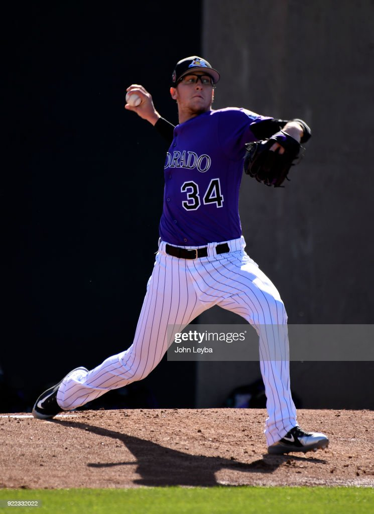Colorado Rockies starting pitcher Jeff Hoffman (34) delivers a pitch during workouts on February 21, 2018 at Salt River Fields at Talking Stick in Scottsdale, Arizona.