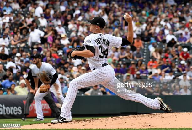 Colorado Rockies starting pitcher Jeff Hoffman delivers a pitch against the Atlanta Braves during the second inning on August 17 2017 in Denver...