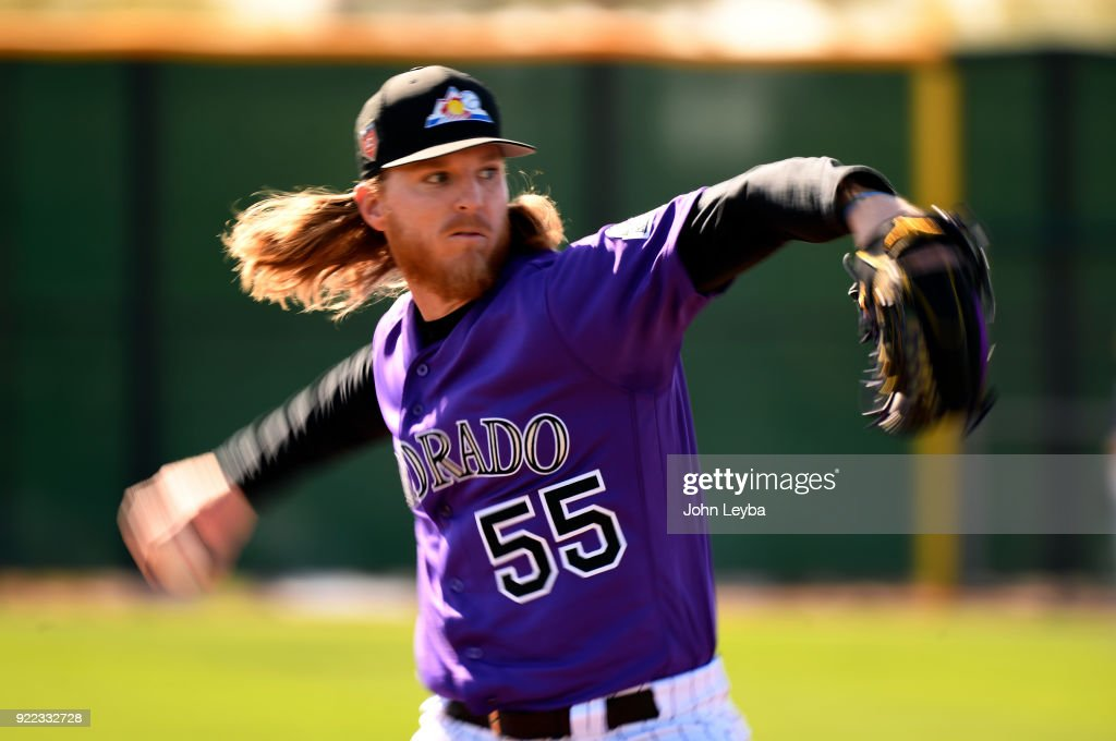 Colorado Rockies starting pitcher Jon Gray (55) delivers a pitch during batting practice on February 21, 2018 at Salt River Fields at Talking Stick in Scottsdale, Arizona.