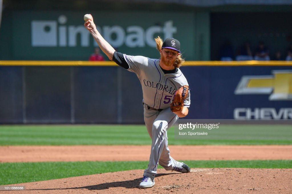 Colorado Rockies starting pitcher Jon Gray (55) delivers the ball against the Milwaukee Brewers on August 5, 2018 at Miller Park in Milwaukee, Wisconsin.