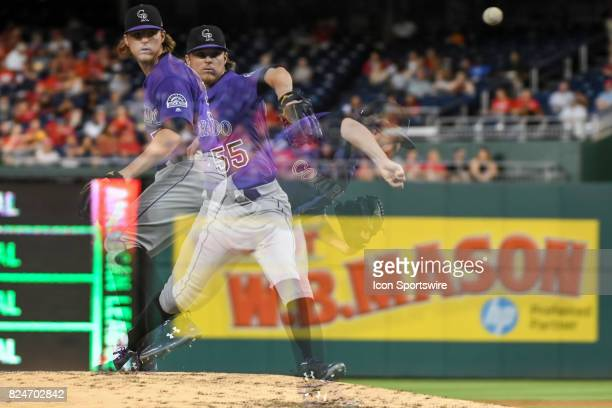Colorado Rockies starting pitcher Jon Gray pitches in an in camera multiple exposure during an MLB game between the Colorado Rockies and the...