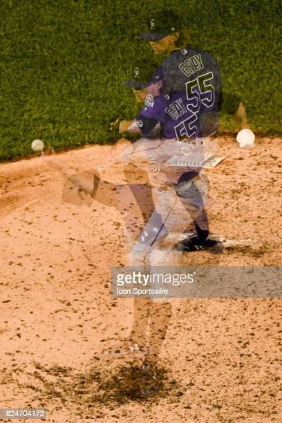 Colorado Rockies starting pitcher Jon Gray pitches in the sixth inning in an in camera multiple exposure during an MLB game between the Colorado...