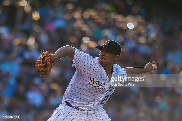 Colorado Rockies starting pitcher Jorge De La Rosa pitches during a regular season Major League Baseball game between the Milwaukee Brewers and the...