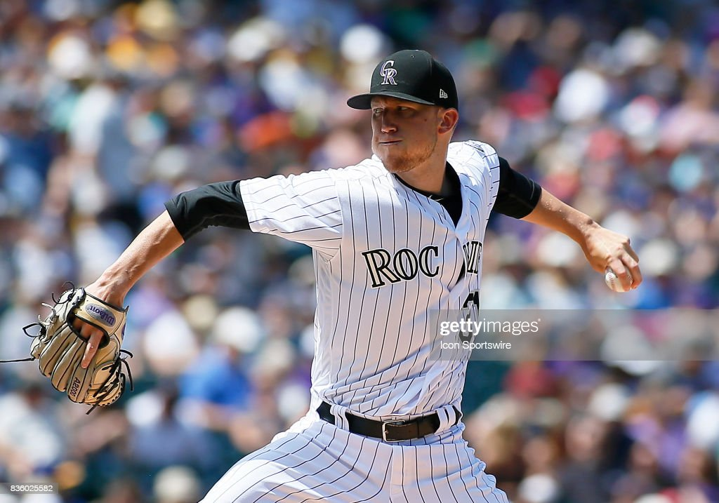 Colorado Rockies Starting Pitcher, Kyle Freeland (31) pitches during a regular season MLB game between the Colorado Rockies and the visiting Milwaukee Brewers on August 20, 2017 at Coors Field in Denver, CO.