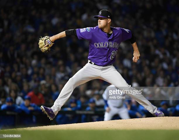 Colorado Rockies starting pitcher Kyle Freeland pitching against the Chicago Cubs in the first inning at Wrigley Field in the NL West Wild Card...