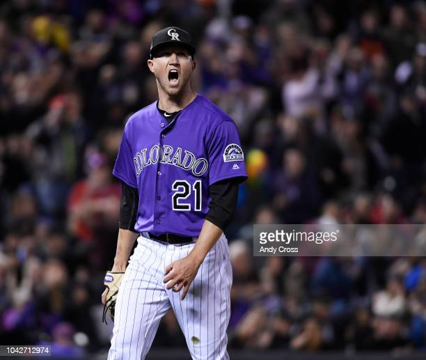 Colorado Rockies starting pitcher Kyle Freeland reacts after striking out Washington Nationals first baseman Mark Reynolds with the bases loaded...