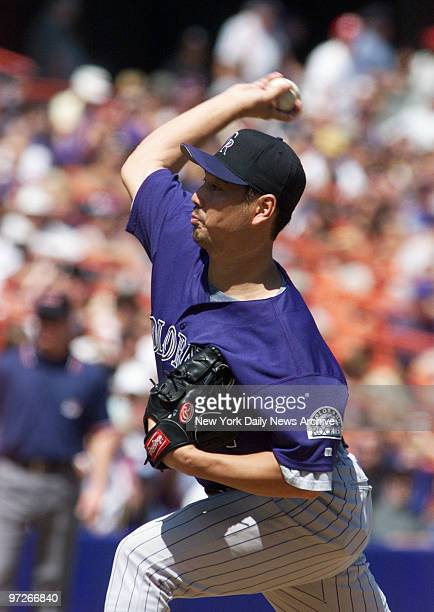 Colorado Rockies' starting pitcher Masato Yoshii pitches against the New York Mets during game at Shea Stadium Yoshii was pounded for nine runs by...