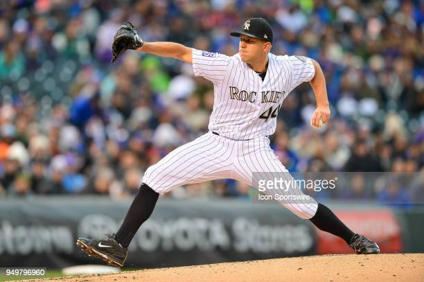 Colorado Rockies starting pitcher Tyler Anderson pitches against the Chicago Cubs during a regular season Major League Baseball game between the...