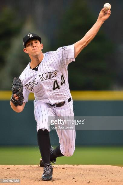 Colorado Rockies starting pitcher Tyler Anderson pitches against the Chicago Cubs in the first inning during a regular season Major League Baseball...