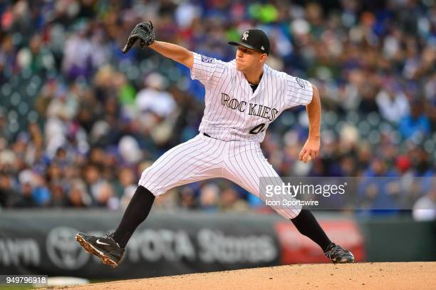 Colorado Rockies starting pitcher Tyler Anderson pitches during a regular season Major League Baseball game between the Chicago Cubs and the Colorado...