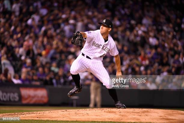 Colorado Rockies starting pitcher Tyler Anderson pitching against the San Diego Padres at Coors Field April 10 2018