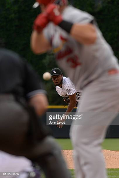 Colorado Rockies starting pitcher Yohan Flande delivers a pitch to St. Louis Cardinals first baseman Matt Adams in the first inning June 25, 2014 at...