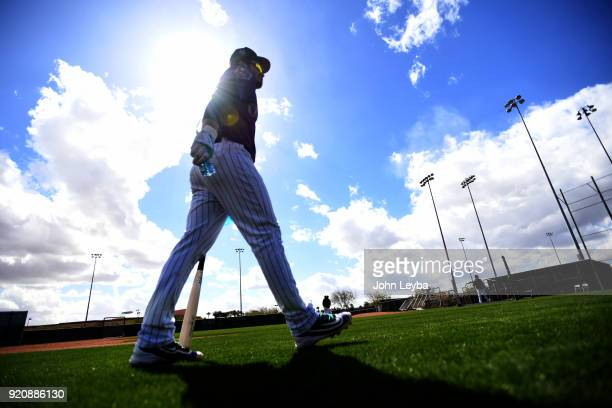 Colorado Rockies third baseman Nolan Arenado heads to the cage for batting practice during the teams workout on February 19 2018 at Salt River Fields...