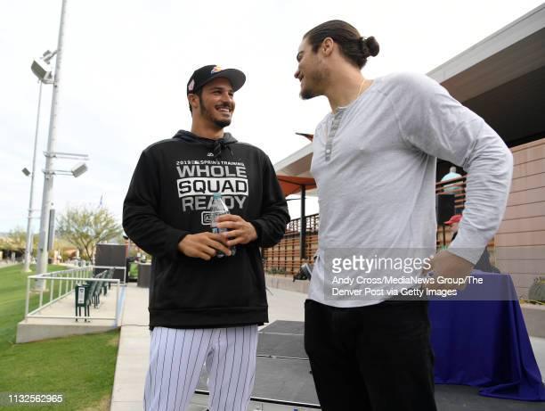 Colorado Rockies third baseman Nolan Arenado left talks with his brother Jonah Arenado San Francisco Giants minor league third baseman after Nolan's...