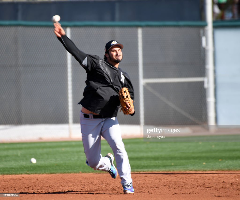 Colorado Rockies third baseman Nolan Arenado (28) makes a throw to first base during the teams workout on February 20, 2018 at Salt River Fields at Talking Stick in Scottsdale, Arizona.