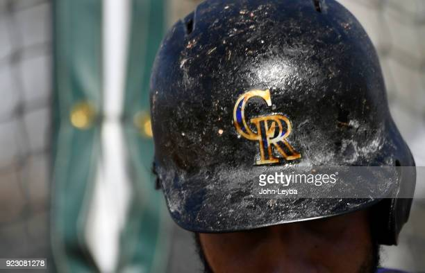 Colorado Rockies third baseman Nolan Arenado pine tar helmet during batting practice on February 22 2018 at Salt River Fields at Talking Stick in...