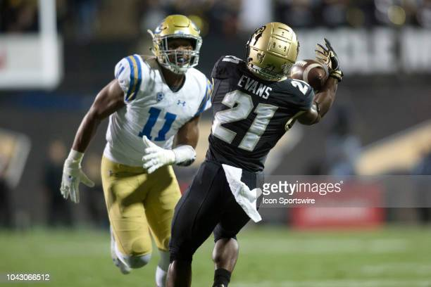 Colorado running back Kyle Evans makes a catch during the Colorado vs UCLA football game on September 28 2018 at Folsom Field in Boulder CO