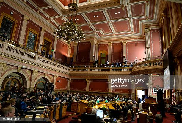 Colorado Senate President Bill Cadman RColorado Springs gives a speech on opening day of the 2016 Colorado Legislative Session at the Colorado State...