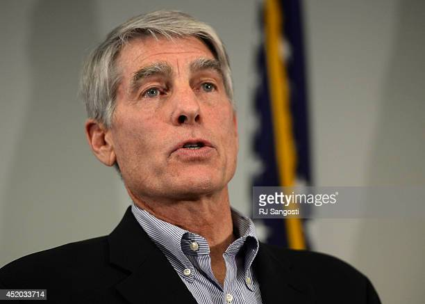 Colorado Senator Mark Udall holds a news conference to talk about a bill to override Hobby Lobby decision, July 11, 2014. The news conference was...