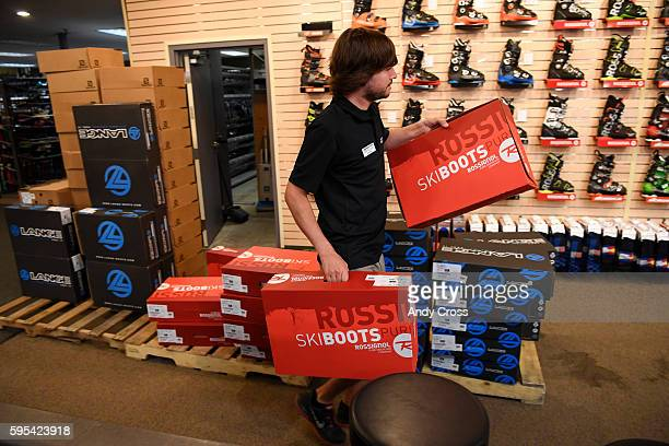 Colorado Ski and Golf sale associate Johnny Burgman organizes ski boots for the annual Ski Rex sale August 25 2016 The sale starts September 1st for...